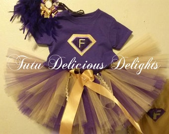 Childhood Cancer Awareness Tutu, Purple and Gold Tutu, Superhero Tutu, Childhood Cancer Outfit, Tutu and Cape, Gold Cape