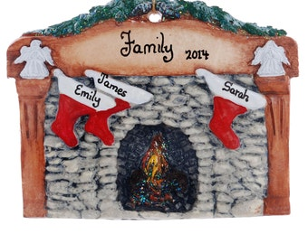 Stockings personalized Christmas ornament - fireplace mantle with family name and stockings with names personalized ornament  (109)
