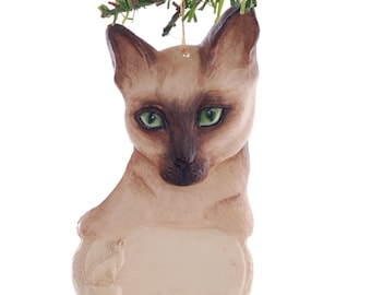 Green Eyed Siamese Cat Personalized Christmas Ornament place your feline's name on this beautiful detailed ornament (146)