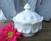 Westmoreland Milk Glass Thumbprint Candy Dish, Compote, Pedestal, Covered, Lidded