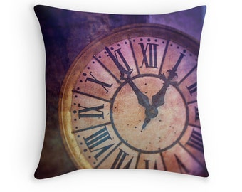 Clock Pillow Cover, Surreal, Purple, Steampunk, Fantasy Art, Photo Pillow, Home Decor, Fairytale, Magical, Couch Cushion - Time Will Tell
