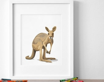 Kangaroo art print, kangaroo nursery artwork, baby jungle animal print, safari childrens ilustration - nursery art