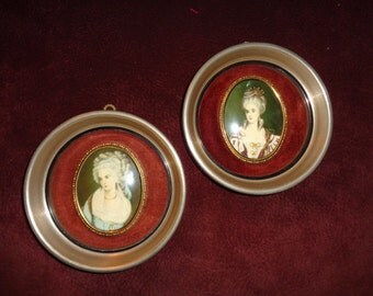 2 Vintage Portraits of Mme. Lambert de Morigney by Nicholas Largelliere and Mrs. Chopin by George Romney, A Cameo Creation pair of prints