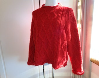 Vintage Red Wool Cable Knit Ski Sweater, Size XL Female, Short waisted top with faux turtleneck collar, Made in Greece in Vintage Condition