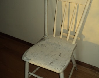 Antique Wooden Chair, Rustic Primitive Style Chair in original white painted finish with wonderful well developed patina