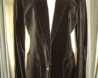 Vintage Brown Velvet Blazer, Designed by Nino Cerruti, Paris, and Tailored in the USA For Carson, Pirie, Scott and Company in Mint Condition
