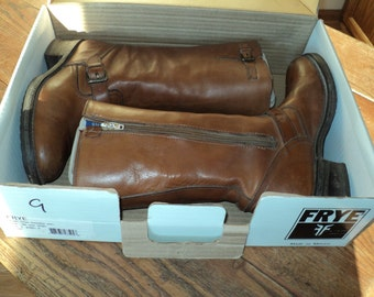 Vintage FRYE BOOTS, SIZE 9, A Pair of Brown Leather Boots  with buckle straps  and side zippered openings with great rustic appeal
