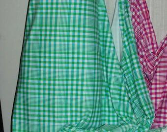 "Fabric Lycra Soft  Lime Green Plaid Nylon Spandex Fabric~52"" W~4 Way~By the Yard~Ships Free"