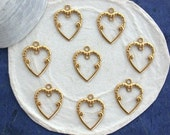 Raw Brass Heart Stampings, Heart Charms, Brass Heart Earring Findings, Made in USA ~  STA-185