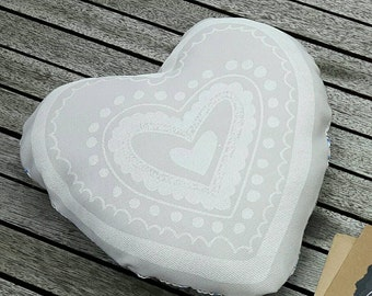 Grey and white heart pillow/cushion - wedding/nursery