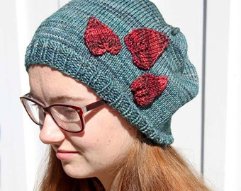 Aqua Colored Hat with Red Leaves, Hand Knitted Women's Slouchy Hat, Warm Fall and Winter Accessory, Handmade Beanie, Blue and Red, Teen Hat