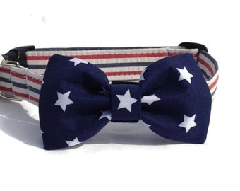 Dog Bow Tie and Collar Set in Seersucker Stars and Stripes for Small to Large Dogs