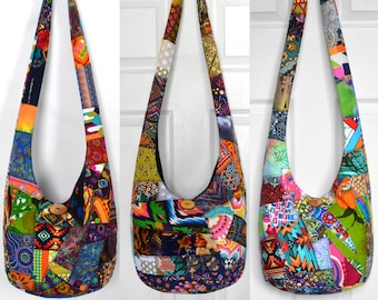 MADE TO ORDER Crossbody Bag Hobo Bag Sling Bag Hippie Purse Hobo Purse Boho Bag Bohemian Purse Patchwork Crazy Quilt Handmade Bag Slouch Bag