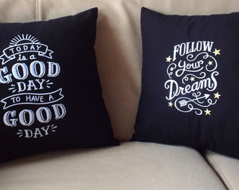 Embroidered Blackboard Style Pillowcase - Follow Your Dreams - 100% Linen  Chalkboard Look  Birthday Home Decor Gift