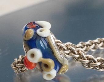 Gower pools- Lampwork Glass Bracelet Charm Bead - fits most European bracelet systems , big hole bead.