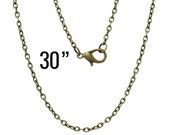 """24 Bronze Necklaces - WHOLESALE - Cable Chains - 3x2mm - 30"""" - Ships IMMEDIATELY from California - CH569b"""