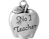 "10 Teacher Charms - Antique Silver - Carved ""No 1 Teacher"" Pattern - 18x14mm - Ships IMMEDIATELY from California - SC1276"