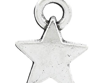 25 Silver Star Charms - Antique Silver - 12x9mm - Ships IMMEDIATELY from California - SC1267