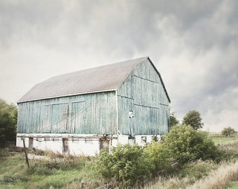 Turquoise Barn Photograph, Country Landscape, Nature Artwork, Rural Picture, Rustic Farm Photo, Blue and Green Art, Farmhouse Decor