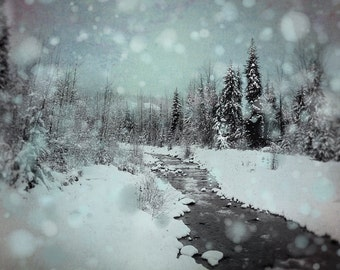 Dreamy Winter Photography, Surreal Landscape Print, Whistler Lodge Decor, Ski Picture, Blue Christmas Art, Snowy Forest Wall Art, River