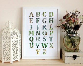 Forest Alphabet Digital Print, Art Print, Wall Art, A3 onto archive grade paper
