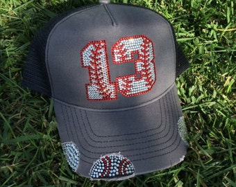 Custom bling baseball hat /choose your number /baseball / baseball hat / rhinestones / baseball mom