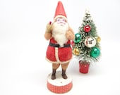 Vintage Santa Candy Container, Antique Hand Painted Face for Christmas