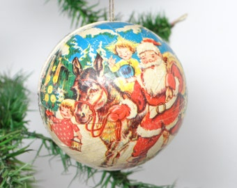 1950's German Santa Christmas Ornament, Vintage Pressed Cardboard Candy Container