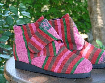 Vegan Womens Ankle Boot In Watermelon Pink Tribal Naga Retro Bootie- Cyndie