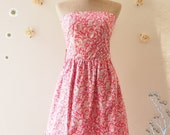 2015 CLEARANCE SALE -Strapless Dress Pink Summer Dress Pink Party Dress Cute Sundress -Size XS