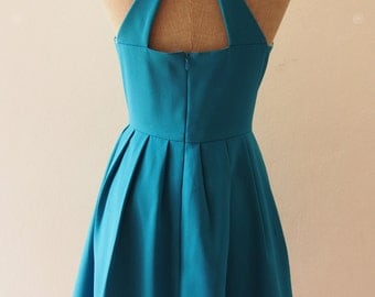 Teal Vintage Bridesmaid Dress, Teal Bachelorette Dress, Teal Cocktail Dress, Audrey Hepburn Party Dress, Tea Length Dress - Love Potion