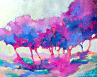 "Abstract Tree Painting, Original Landscape on Paper, Colorful, ""Afternoon Sun and Trees"" 12x16"""