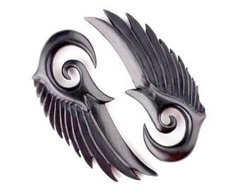 0g Seraphim Black Angel wings organic wood ear plugs gauges