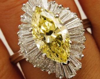 "GIA 3.78ct Estate Fancy YELLOW MARQUISE Diamond ""Ballerina"" Engagement Ring"