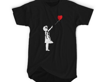 "BANKSY ""Girl with Balloon"" Banksy Street Graffiti Artist T-shirt. Tshirts are Screenprinted with Enviromental Friendly Inks"