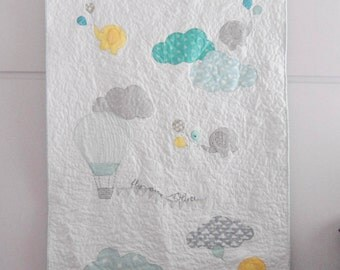 Modern patchwork baby quilt, Flying elephants, fly away, elephants, clouds, Nursery bedding, Nursery decor, shower gift idea, made to order