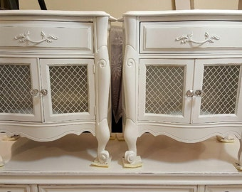 French night table set distressed nightstand set gloss white with marble inlay glass knobs