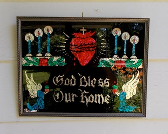 Religious Arts & Crafts GOD BLESS Our HOME Foil on Black Sacred Heart Angels