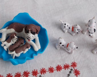 Toy St. Bernard Mom and PUPS with Four Dalmatian  Puppies     Almost Too Cute   Miniature Dogs