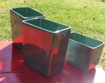 Set of Three Vintage Green MCCOY PLANTERS  Mid Century Tall Rectangular