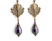 Purple Pearl Jewelry, Violet Filigree Earrings, Purple Earrings Drop, Hypoallergenic Earrings, Pearl Dangle Earrings Brass, Fabiana