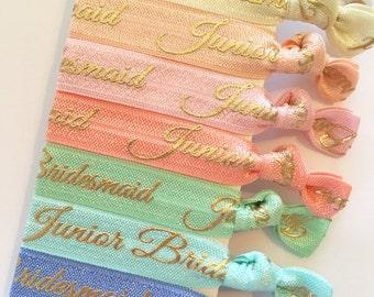 Junior Bridesmaid hair ties (5) with gold writing, will you be my Junior Bridesmaid, junior bridesmaid proposal gift, junior bridesmaid box