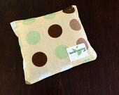 Owie bags, Ouchie Bags, Natural Hot/Cold Therapy Packs Organic Flaxseed filled polka dots beige