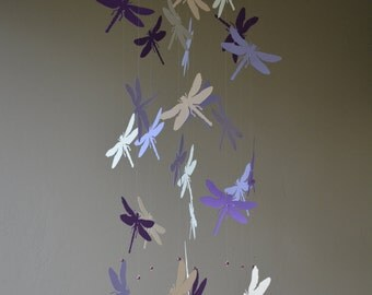 Dragonfly nursery mobile / baby mobile made with 2 grey and 2 purple shades dragonflies --- Dragonfly babyshower, nursery art, nursery decor