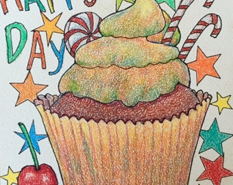 CUPCAKE HAPPY DAY Child, Toddler, Nursery,  Original Fine Art Colored Pencil Painting,  6 x 6  inches, by ebsq Artist Ricky Martin