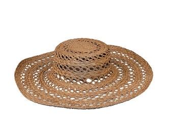 Natural Straw Sun Hat, Open Weave Straw, Wide Brim Hat, Floppy Hat, Hat Size 22, Beach Wedding Hat