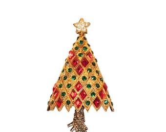 Eisenberg Christmas Tree Pin, Red & Green Rhinestones