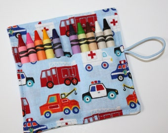 Firetrucks Crayon Rolls Party Favors, Firetrucks Police Cars TowTrucks Ambulances, Crayon Wrap, Birthday Party crayon wraps bags sleeves