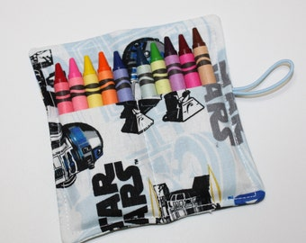 R2D2 Crayon Roll Party Favors, Crayon-Rollup, holds up to 10 Crayons-Birthday Party Favors, Crayon Wraps Sleeves Bags