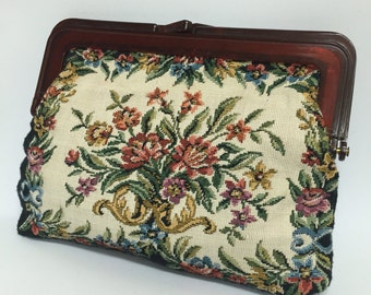 Black Petit Point Floral Tapestry Clutch Purse 80s